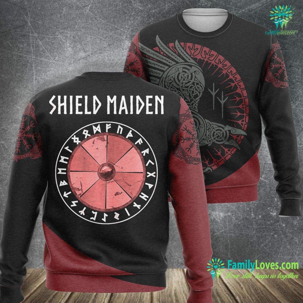 Who Created Marvel Womens Viking Shield Maiden Runes Viking Sweatshirt All Over Print Familyloves.com