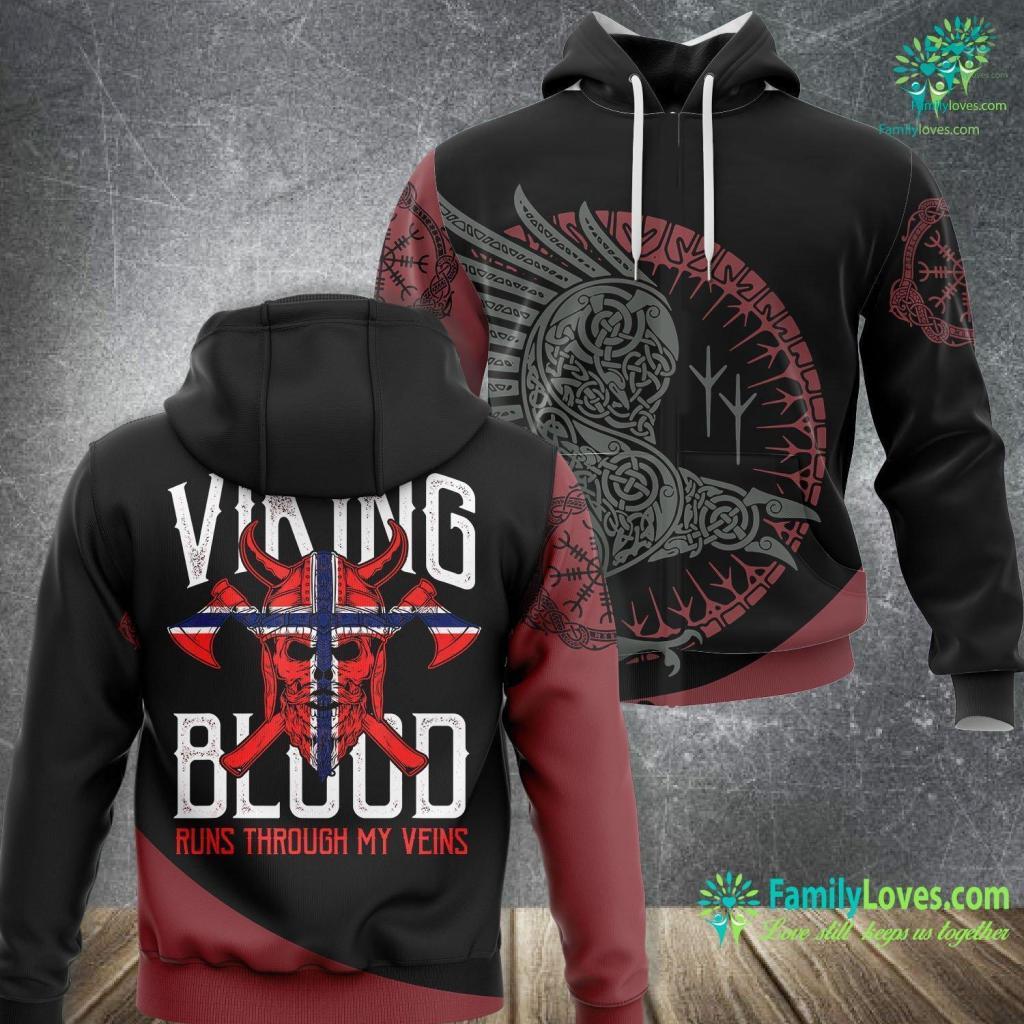 Who Is Santa Viking Blood Skull Norwegian Flag Pride Norway Viking Unisex Hoodie All Over Print Familyloves.com
