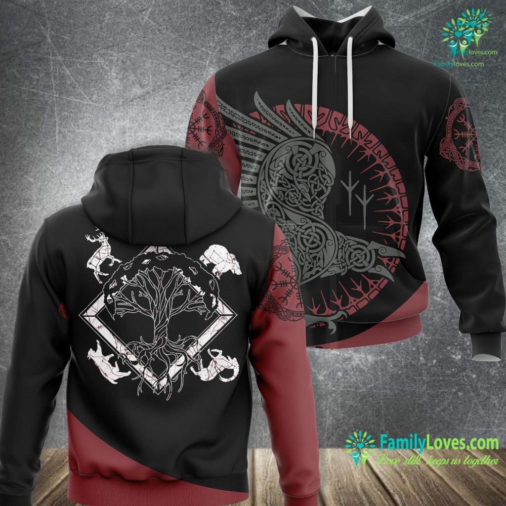 Wolf Pendant Viking Pagan Gift Norse Mythology Valhalla Tree Of Life Viking Unisex Hoodie All Over Print Familyloves.com