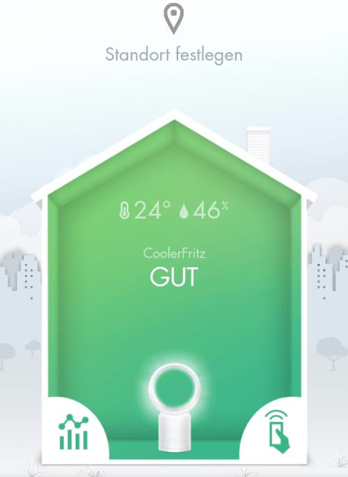 Die App auf dem Smartphone zeigt die aktuelle Luftqualität im Raum und dient neben der Fernbedienung als zusätzliche Steuerung