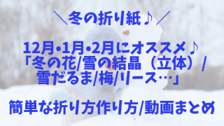 【冬の折り紙】12月・1月・2月にオススメ♪子どもが喜ぶ!「冬の花_雪の結晶(立体)_雪だるま_梅_リース…」簡単な折り方作り方_動画まとめ