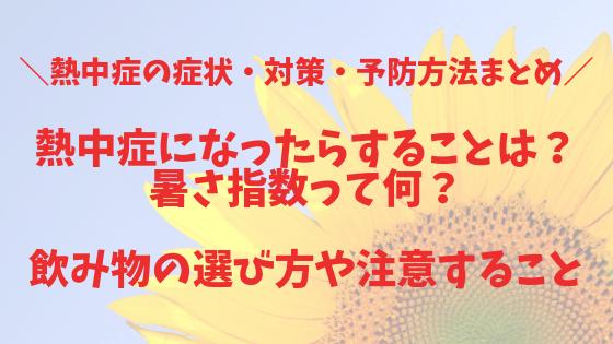 【熱中症の症状・対策・予防方法まとめ】熱中症になったらすることは?暑さ指数って何?飲み物の選び方や注意すること