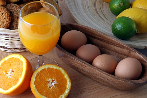 Breakfast juice eggs
