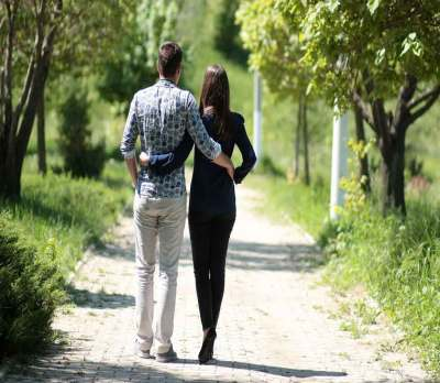 Couple on a daily walk
