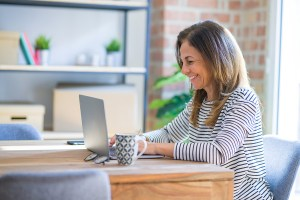 woman participating in an online webinar