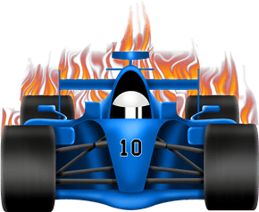race car with flames