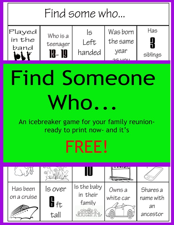 image relating to Printable Family Games identified as Come across Anyone Who Reunion Bingo Family members Reunion Helper