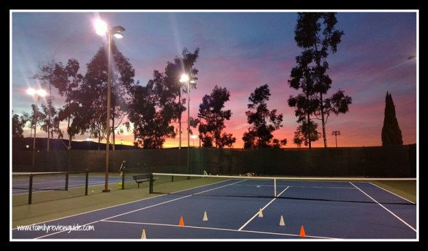 tennis court sunset