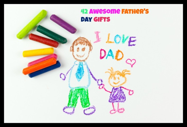 Child's drawing of happy father's day using crayon