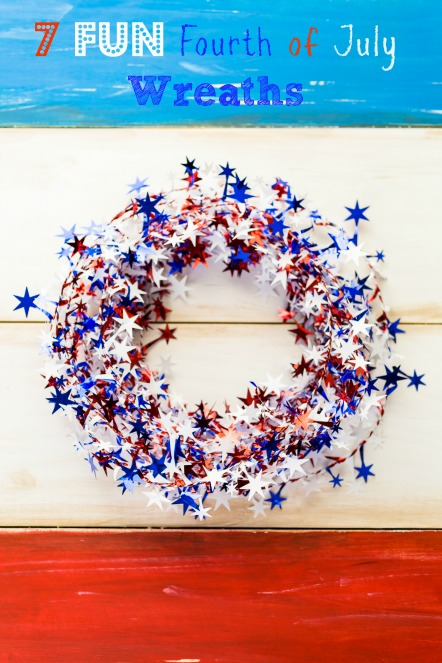 White, blue and red decorations to celebrate July 4th.