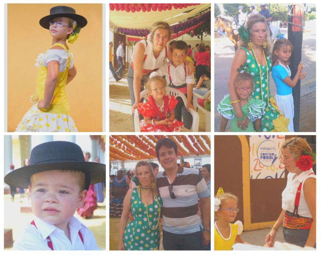 Collage fotos familia con trajes típicos andaluces