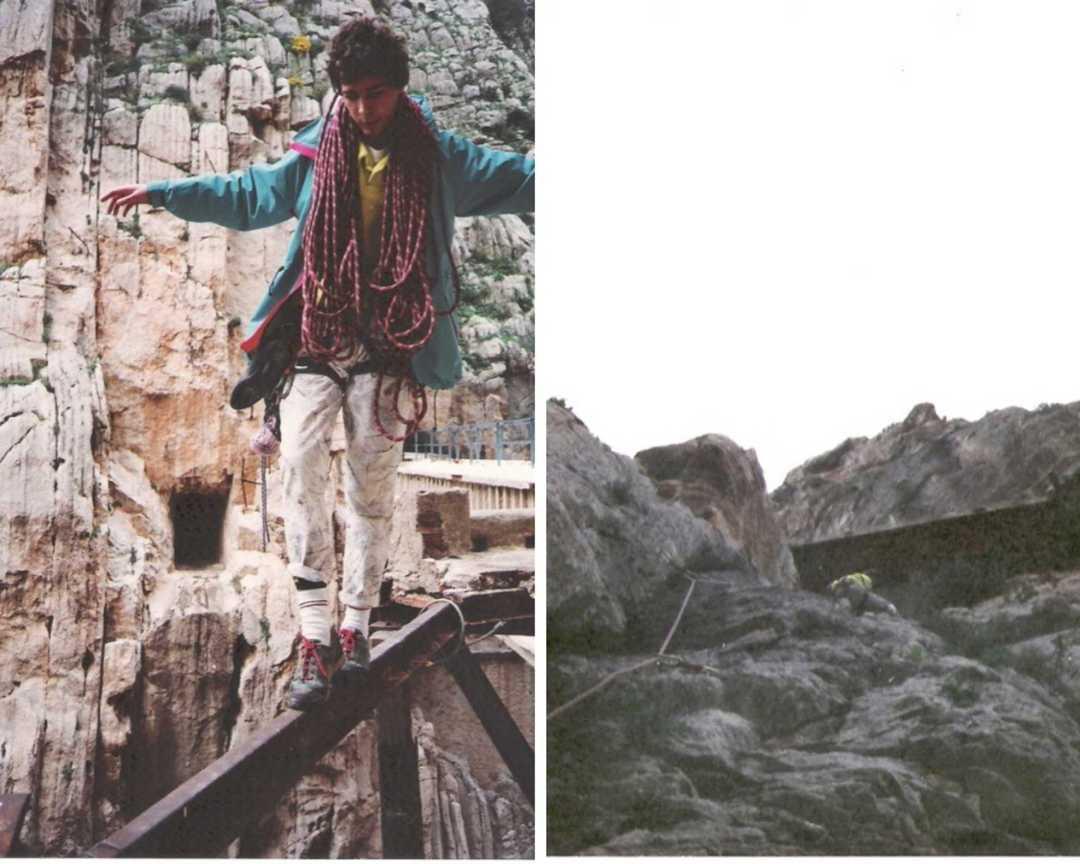 Escalador antes de la restauración del Caminito del Rey