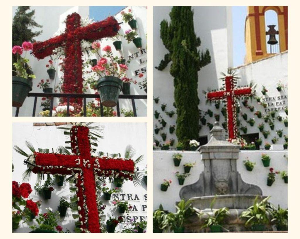 Collage de fotos de la Cruz de Mayo en la Plaza Nuestra Señora de la Esperanza en Córdoba