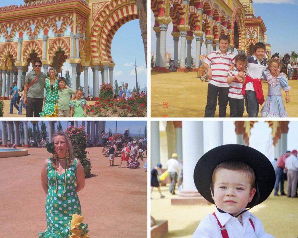 Familias y niños en la portada de la Feria de Córdoba