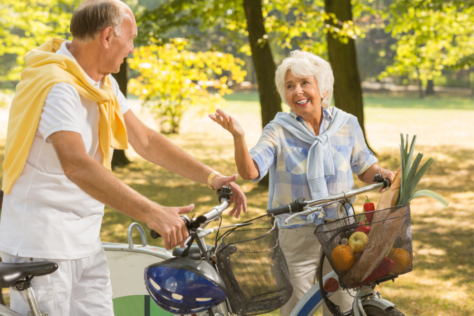 Elderly biking leisure activities