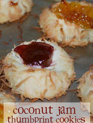Coconut Jam Thumbprint Cookies