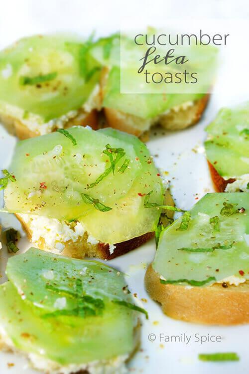Cucumber Feta Toasts by FamilySpice.com