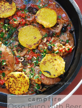 Campfire Challenge: Osso Buco with Beer, Olives, and Gremolata