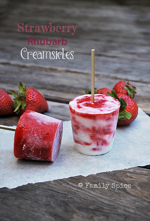 Strawberry Rhubarb Creamsicles by FamilySpice.com