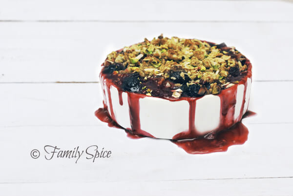 Berry Rhubarb Crisp with Pistachios by FamilySpice.com