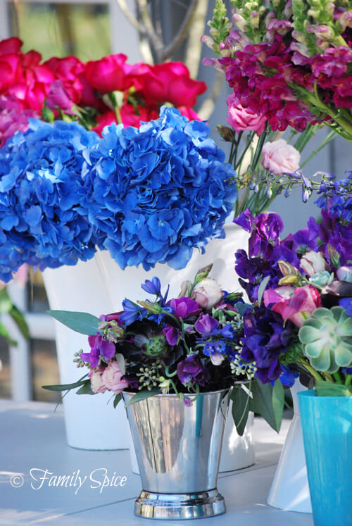 blue hydrangeas and other fresh cut flowers