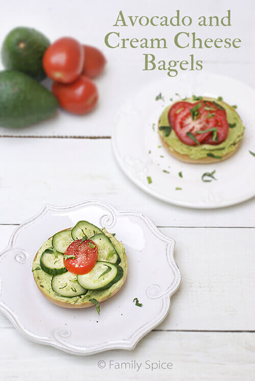 Avocado Cream Cheese Bagels by FamilySpice.com