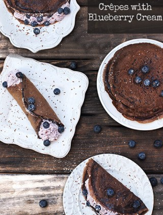 Dark Chocolate Crepes with Blueberry Cream