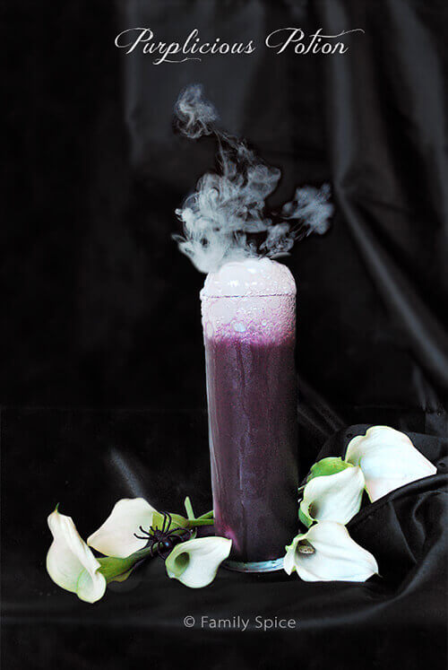 Easy Halloween Recipes For Your Block Party: Dye-Free Purplicious Potion by FamilySpice.com