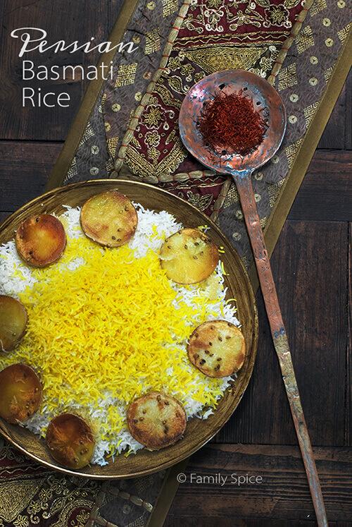 How to Make Persian Basmati Rice with Saffron and Potato Crust by FamilySpice.com