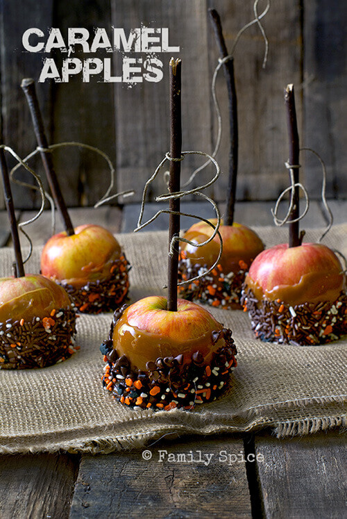 Easy Halloween Recipes For Your Block Party: Caramel Apples by FamilySpice.com