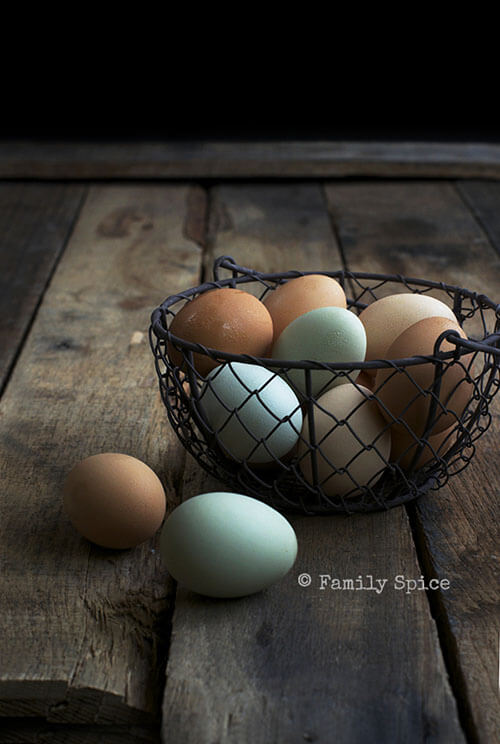 Brown and Blue Eggs for Kale and Heirloom Tomato Crustless Quiche by FamilySpice.com