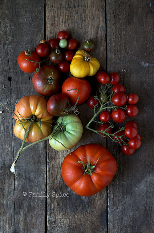 Garden tomatoes for Kale and Heirloom Tomato Crustless Quiche by FamilySpice.com