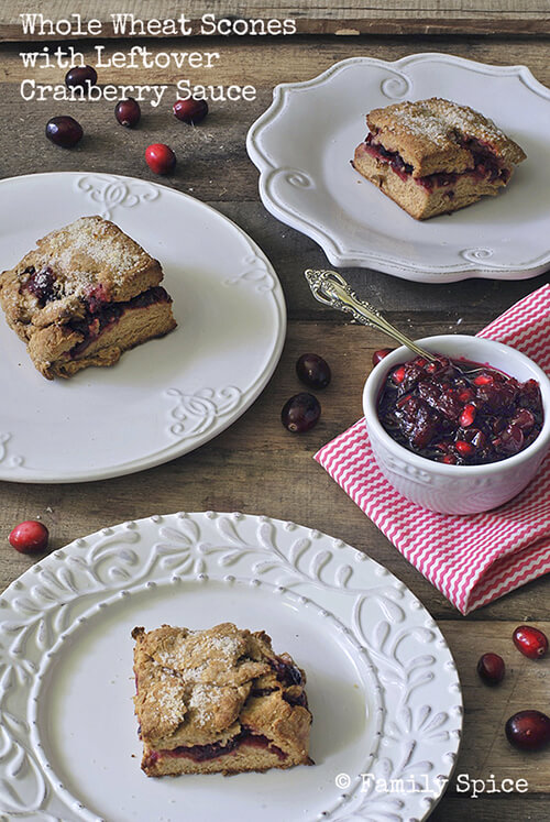 Whole Wheat Scones with Leftover Cranberry Sauce by FamilySpice.com