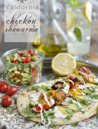 The California Chicken Shawarma with avocados and @HVRanch Garlic Dressing - by FamilySpice.com