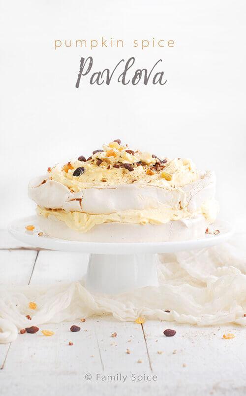 Pumpkin Spice Pavlova Cake with Pumpkin Whipped Cream by FamilySpice.com