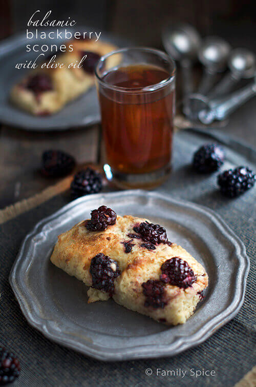 Balsamic Blackberry Scones with Olive Oil by FamilySpice.com