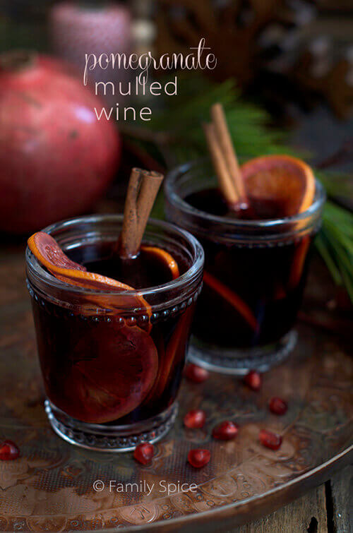 Celebrate the Winter Solstice with this warm, spiced Pomegranate Mulled Wine by FamilySpice.com