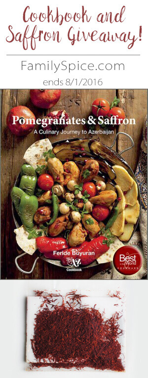 Giveaway on FamilySpice.com: Pomegranates and Saffron Cookbook by Feride Buyuran and 5-grams of Premium Persian Saffron. Ends 8/1/2016