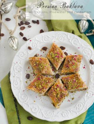 Persian Baklava with Raisins, Pistachios and Almonds