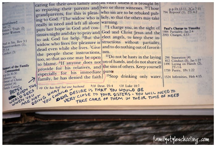 Writing in your bible