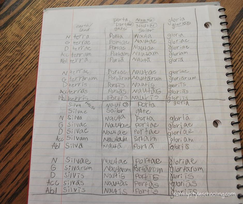 Simple Latin Noun Declension Notebook