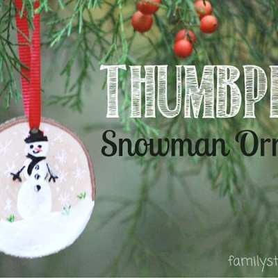 DIY Wooden Thumbprint Snowman Ornaments