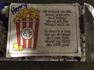 The bag of popcorn that Mrs. Williams sent home. (Vegan!)