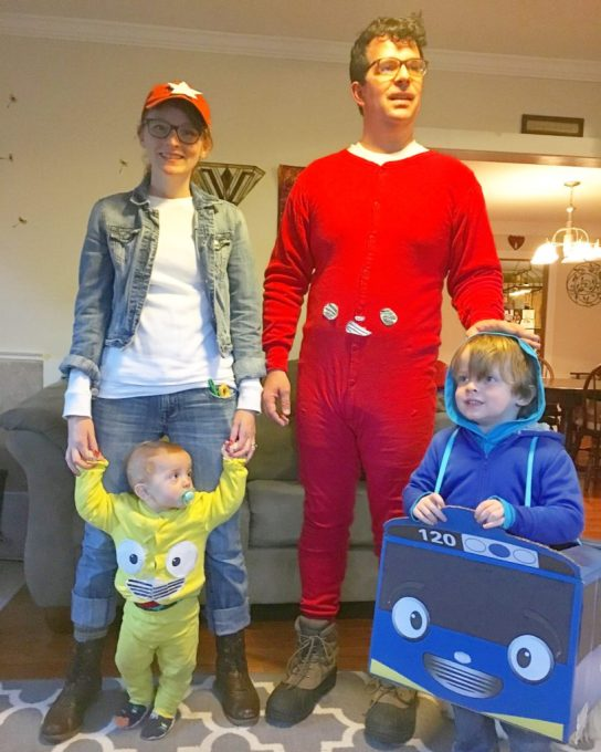 The four of us weirdos. (Henry was Tayo the Little Bus for Halloween, and I was Hana the mechanic, Danny was Nuri the taxi and Cory was Gani the big bus. Henry made Cory's costume...)