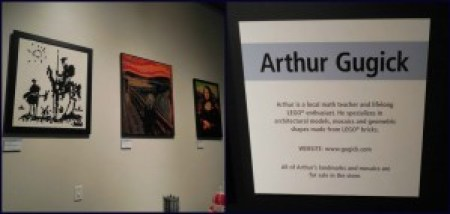 Some examples of the pictures recreated using LEGOs, and information on the creator.