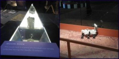 "Left: a real moon rock. Right: the ""mars rover"""