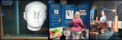 Left: part of the presentation that shows how doctors can view the inside of your head. Middle: Mom trying out the heart monitor. Right: prosthetic arm that visitors can control with robotics.