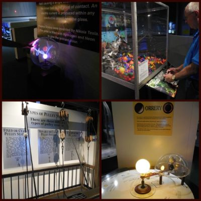 Some of the awesome experiments guests get to interact with in Space Station Earth include robotics, power generators, and a pulley system!
