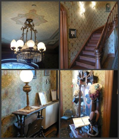 Top left: the light fixture in the Saxton House's foyer; top right: the huge curving staircase that played a role in the restoration of the Saxton House; bottom left: a table and light in the Saxton House's foyer; bottom right: mirror donated to the museum by the Smithsonian.