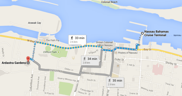 Walking map: Nassau Cruise Port to Ardastra Gardens